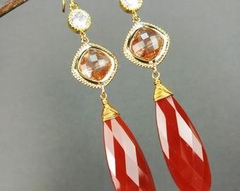 Carnelian red chalcedony long teardrop earrings with gold plated findings, gift for her, birthday gift, luxury earrings, party earrings