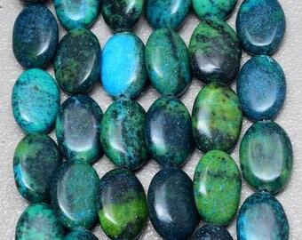 Fabulous set of 5 beads of chrysocolla oval 17x12x6mm