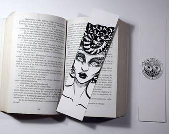 Bookmark - jellyfish - black, white - 5x20cm - Marylou Deserson Illustration