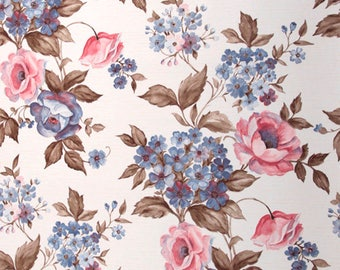 70s Flower Wallpaper #0111-running meter/vintage wallpaper/Floral Wallpaper