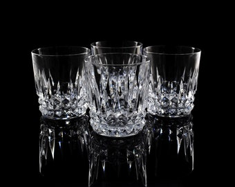 Marvelous Vintage Lead Crystal Old Fashioned Glasses / Whiskey Glasses / Mid Century Modern  Barware