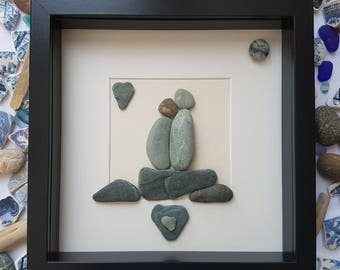 Framed art, Pebble picture, pebble art, unique gift, mothers day, valentines day, home decor, Birthday, Wedding, Engagement, Anniversary,