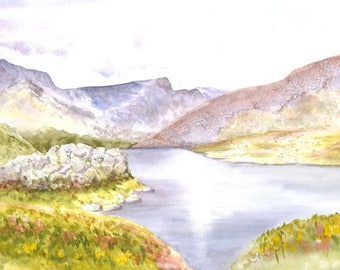 Tranquility, original watercolour, landscape painting, hills, mountains, lake, water