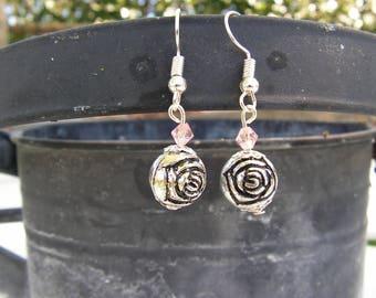 Earrings rose pink swarovski and metal