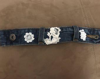 Repurposed Denim Cuff Bracelet