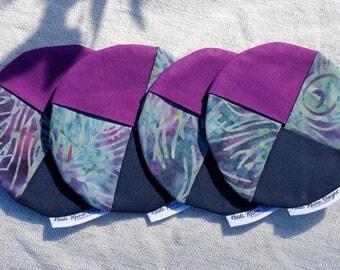 Blue and purple batik / peacock colour fabric wine coasters set of four