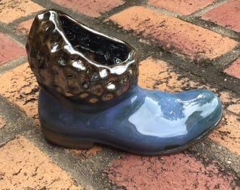 Pottery art- ceramic boot. Use as vase or pencil holder. Great gift.