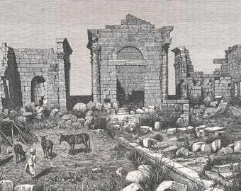 Tunisia 1885, General View of the Three Temples of Sbeitla, Old Antique Vintage Engraving Art Print, Brick, Bridge, Collapsed, Dilapilated