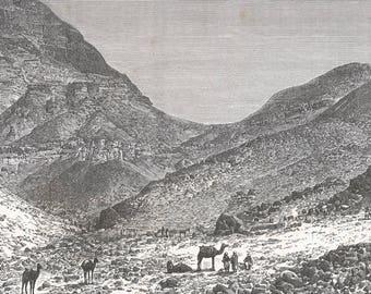 Palestine 1882, Valley Near Ain Jedy, Old Antique Vintage Engraving Art Print, Mountain, Rock, Boulder, Traveling, Man, Camel, Sitting, Rest
