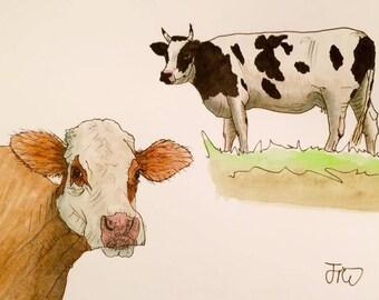 Original Cow Cows Cattle Farm Animals Watercolour Painting