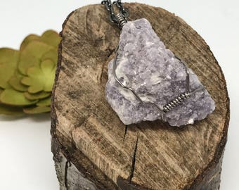 Wire Wrapped Lepidolite Necklace