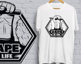 Vape is Life T-shirt - vape, shirt, tee, vaping, cigarette, e cigarette, smoking, weed, cannabis, marijuana, skull, vaporize,
