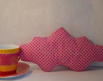 Small cloud pillow pink star