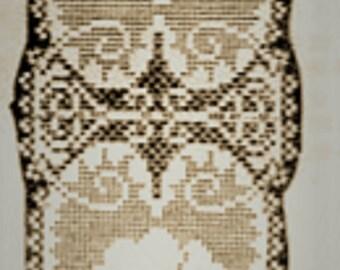 PDF Crochet Pattern,Pansy and Hearts  Small Doily, Filet Crochet