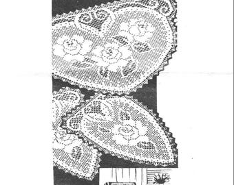 PDF Filet Crochet Pattern, Alice Brooks Roses Chair Back Set with matching arm rest, Large doily