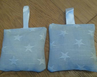 Two handmade lavender bags | grey fabric with white stars |  gift
