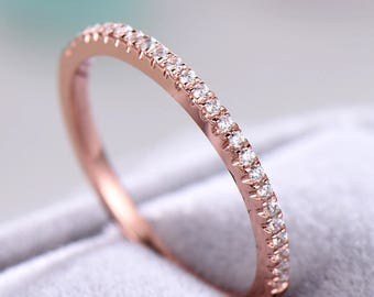 Cubic Zirconia Diamond Wedding Band Rose Gold Plated Sterling Silver Women Bridal Ring Anniversary Gift Micro Pave Eternity Stacking Ring