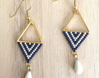 Earrings are made of Navy Blue and Pearl
