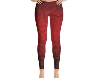 Yoga Leggings - Full Leg Leggings - Exercise Leggings - Festival Leggings - Printed Leggings - Drogon Red Dragon Scale Pattern Leggings