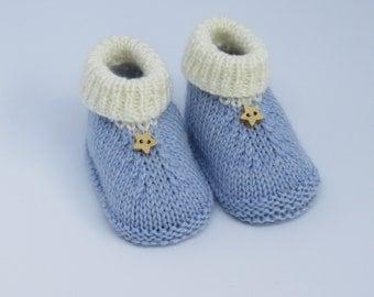 Baby booties -Blue booties -Newborn booties -Baby ugg boots-Baby shoes