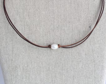 Fresh Water Pearl Double Leather strap choker