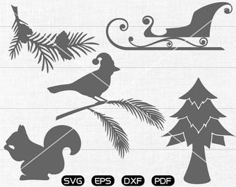 Christmas tree Clipart , Bird, Squirrel, Pine,  Sled Svg, cricut, cameo, silhouette cut files commercial & personal use