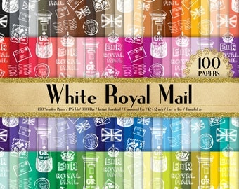 "100 Seamless White Royal Mail Papers in 12"" x 12"", 300 Dpi Planner Paper, Scrapbook Paper,Rainbow Paper, Royal Papers, Mail Digital Paper"