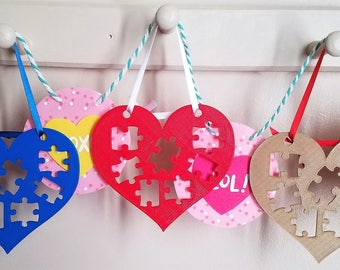 Autism Awareness Acceptance Support Valentine Love Heart Puzzle Piece 3D Printed Gift Plaque Sign Custom Ornament Decoration
