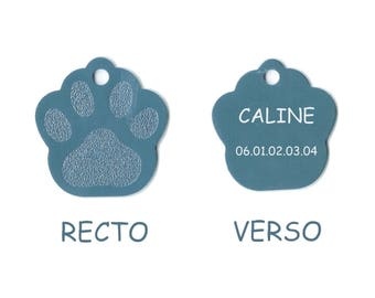 Medal dog or cat calinette engraved aluminum foil blue color