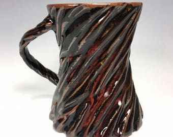 Dark Mug / Red Ceramic Mug / Carved Mug / Textured Mug / Unique Mug / Gift for Him / Handmade Mug