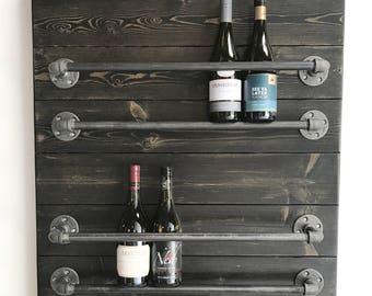 rustic industrial 2tier wall mount wine rack iron pipe wine rack industrial