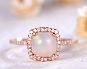 Opal Engagement Ring Cushion Cut 14k 18k 925 Sterling Silver Rose Gold CZ Diamond Halo Half Eternity Wedding Band Bridal Anniversary Gift