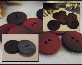 6 buttons, blue or red flamed * 22 mm * 2 hole 2,2 cm Blue red sewing button