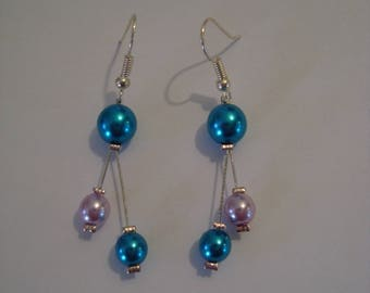 Earrings turquoise blue and light pink
