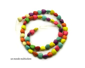 15 howlite stone beads 8 x 8 mm mixed color heart shape