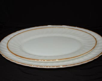 ANCHOR HOCKING Gold Swirl, platter, serving dish, Set of 2, Milkglass  Gold Trim, Wedding Table Dishes