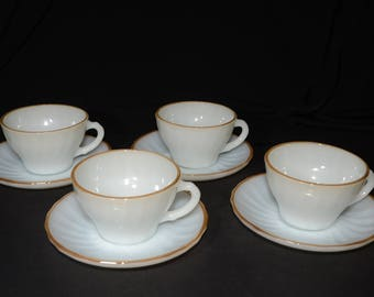 ANCHOR HOCKING, Gold Swirl, 4, Coffee/Tea cup and saucer set, 1950s Vintage, Milkglass Set, Wedding