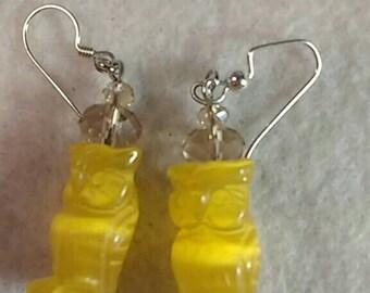 Owl Earrings - Yellow Earrings - Fiberoptic Earrings - Glass Earrings