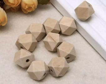 Natuaral wooden beads , unfinishd 10pcs.