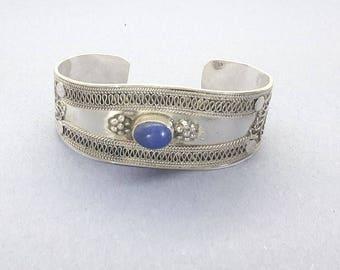 Vintage Sterling Silver Blue Lapis Cuff Bracelet/Handmade/Adjustable Lapis Lazuli Silver Bracelet/Free Shipping US