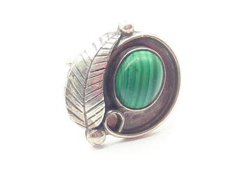 Sterling Silver Malachite Ring/Vintage/Free Shipping US/Handmade/Birthday/ Christmas/Valentines Present