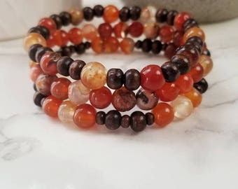 Fire Red Agate and Oak Bracelet set | Handmade | ADV-BR-0001