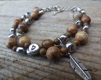 "Memo Bracelet (allaitement/medicament/cigarette...),""tara"" stones gems Jasper + pouch, Ti Memento"