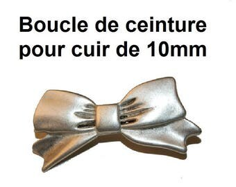 Silver belt buckle for leather 10mm
