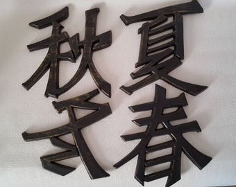 Vintage Chinese Character Wall Plaques by Burwood - 1972