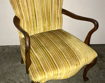 mid century upholstered arm chair with cherry frame original velvet style upholstery in excellent condition