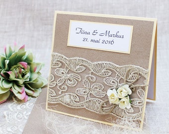 Rustic wedding invitations, Rustic Lace Wedding invite, Wedding invitation with envelope