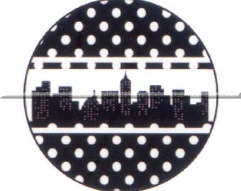 2 cabochons 18mm glass, New york, black and white tone