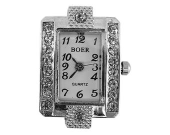 Case shows silver-tone metal adorned with Rhinestones-nmf103