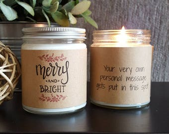 Merry and Bright, Scented Soy Candle, Soy Candle Gift, Personalized Candle, Holiday Candle, Christmas Candle, Christmas Candle Gift